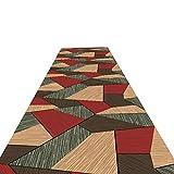 SXMXO Corridore di tappeti Marrone con Motivi Geometrici Patchwork, per corridoio, Ingresso e Camera da Letto, Moquette per Zona caffè, Larghezza 60 cm / 80 cm / 100 cm / 120 cm,0.9 * 5m