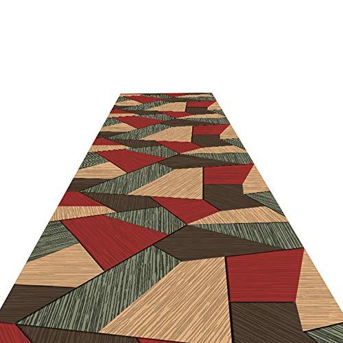 Bruine geometrische patchwork patroon tapijten loper, voor hal, entree en slaapkamer, Café gebied tapijt tapijt, 60cm /80cm /100cm /120cm breed,1.4 * 5m