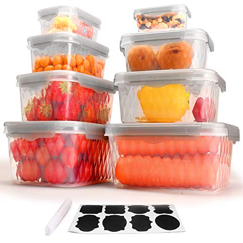 Food Storage Containers with Lids Set of 8 Plastic Freezer Containers for Food with Leak Proof and Airtight Lids BPA Free and Stackable Kitchen food prep containers