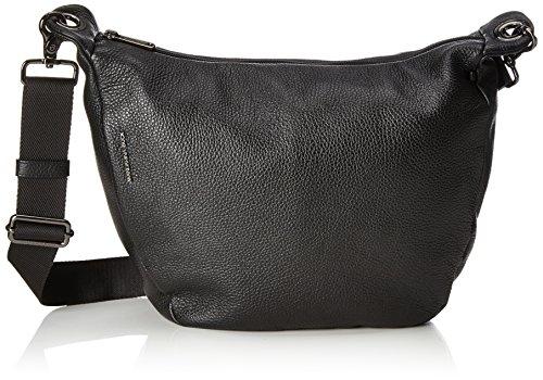 Mandarina Duck Damen Mellow Leather Tracolla Schultertasche, Schwarz (Nero), 10x21x28.5 cm