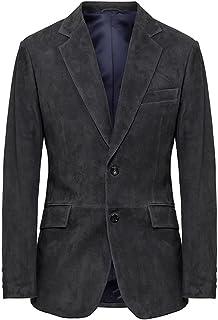 Men's Hackett London Mayfair Suede Leather Blazer in Dark Grey (XXL) (XXL)