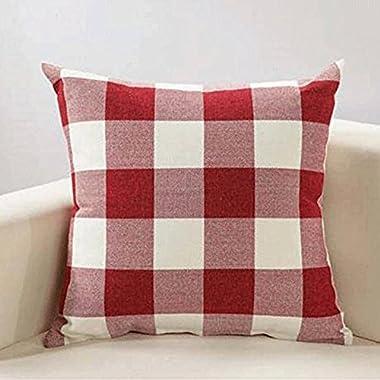 PRAGOO Retro Checkered Pillow Cover Throw Pillowcase Checkers Plaids Cushion Covers Decorative Throw Pillow Case Home Sofa Decor 2pcs (red white)
