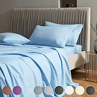"""SAKIAO King Size Bed Sheets Set - Brushed Microfiber 1800 Thread Count Percale - 16"""" Deep Pocket Egyptian Sheets Beautiful Breathable Wrinkle Free & Fade Resistant - 4 Piece (Lake Blue,King)"""