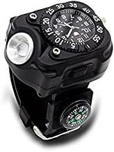 iBlood Tactical Wrist Light Watch, 5-Mode 240 Lumens Led Wristlight Flashlight Torch Wrist Light with Quartz Watch, Compass for Outdoor Running, Hiking, Camping, Riding Built-in Rechargeable Battery