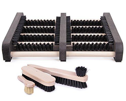 Ondis24 Fußabtreter Bürstenset Schuhabstreifer mit Seitenleisten aus Holz Schuhputzer, stabile Bürsten, inklusive Bürstenset