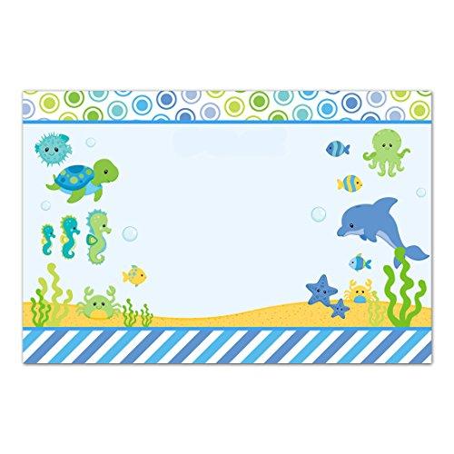 30 tarjetas de agradecimiento en blanco para acuario bajo el mar, papel fotográfico de cumpleaños