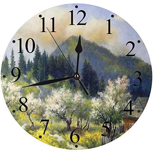 Yaoni lautlosem Uhrwerk - 30 cm Rund Wanduhr,Landschaft, Retro-Dorf im Garten Holzzaun Bäume weiße Blumen Wald, grün, weiß und blau,für Wohn- /Schlaf-Kinderzimmer Büro Cafe Restaurant