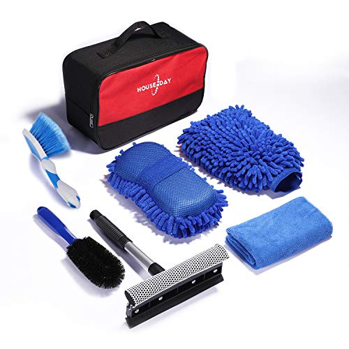Car Wash Kit Car Cleaning Tools Chenille Wash Mitt Sponge, Microfiber Cloth,Wheel Brush,Squeegee for Interior, Exterior Washing 6 PC Cleaning Accessories Auto Clean Tools Supply Set with Storage Box