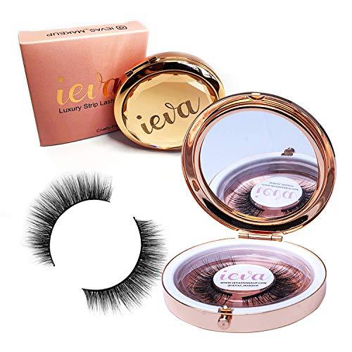 Ieva's Maquillage de luxe faux cils en vison avec étui de luxe et miroir No.30 \