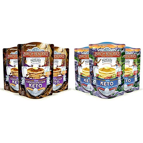 Birch Benders Keto Chocolate Chip Pancake amp Waffle Mix with Almond/Coconut amp Cassava Flour Just Add Water 3 Count amp Waffle Mix by Birch Benders LowCarb High Protein 3 Pack 10oz each