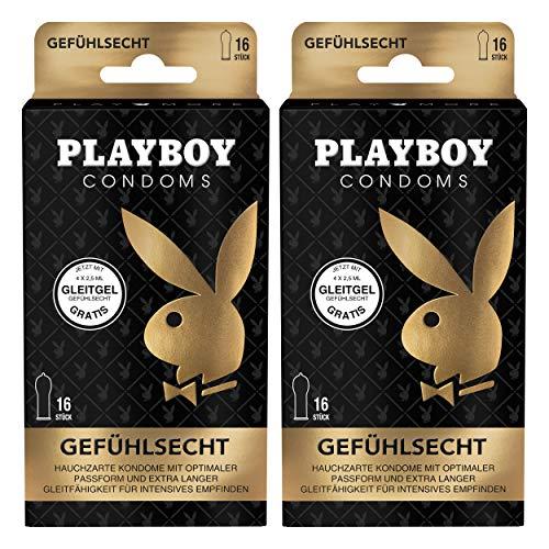 Playboy Condoms Kondome Gefühlsecht, Verhütungsmittel, Intensiv, mit Gleitgel gratis, 56 mm, 2 x 16 Stück