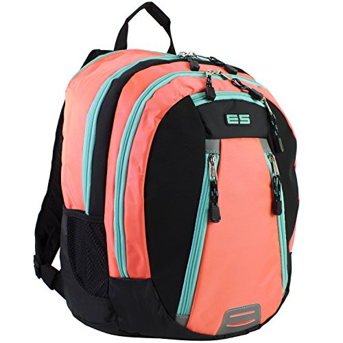 Eastsport Sport Backpack for School, Hiking, Travel, Climbing, Camping, Outdoors, Coral Sizzle/Black/Turquoise Trim