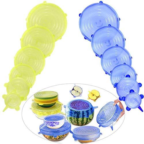Tapas elásticas, para ensaladas, tapas mágicas, flexibles, miricales, tapa de silicona para alimentos, 12 tapas elásticas reutilizables de silicona expandibles