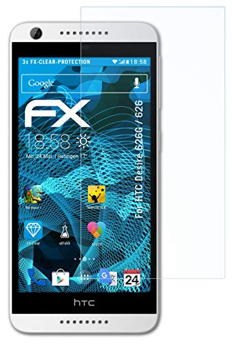 atFolix Schutzfolie kompatibel mit HTC Desire 626G / 626 Folie, ultraklare FX Bildschirmschutzfolie (3X)