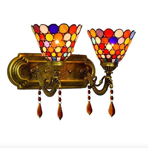 Lampada Da Parete Comodino Camera Da Letto In Stile Boemo In Vetro Colorato Lampada Da Parete In Cristallo A Doppia Testa Da Bar Dell'Hotel Complesso Tiffany-2 Lampade