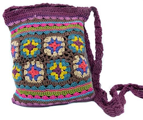 Häkeltasche, Bunte Umhängetasche 20x25cm gehäkelt, aus Baumwolle lila rot grün oder grau