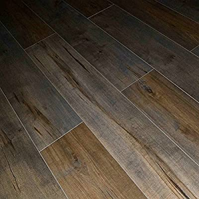 Dekorman 1551 Latte Birch 12mm Thick x x Click-Locking Laminate Flooring Planks, 7.72in wide x 48in length, Multi Gray and Brown