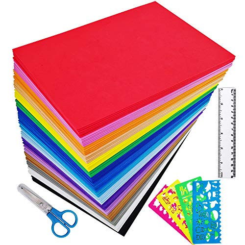Supla 96 Sheets 16 Colors EVA Foam Handicraft Sheets 2mm Thick Craft Foam Sheets 9 x 6 Assorted Colorful Crafting Sponge with Stencils Ruler Scissor for Classroom Party Kids Art & Crafts Projects