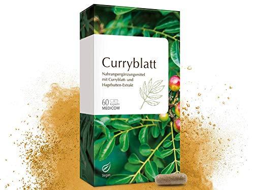 MEDICOM Curryblatt Kapseln – mind. 3% natürliches Eisen aus Curryblatt-Extrakt - vegan, 60 Stk.