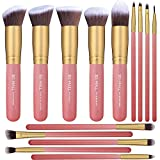 Juego de 14 brochas de maquillaje Kabuki sintéticas para base de maquillaje, base de maquillaje, colorete, delineador de ojos, maquillaje en polvo (rosa y dorado)