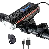 Luz Bicicleta Delantera, Volcano Eye Faro de Bicicleta con Batería Recargable por USB, Indicador Lateral LED, 300lm, 4 Modos, Impermeable, Foco Bici con Bocina para Ciclismo Montañismo Carretera Pesca
