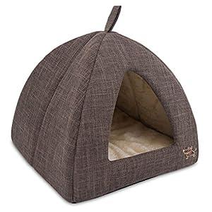 Best Pet Supplies Best Pet SuppliesPet Tent-Soft Bed for Dog and Cat Brown Linen, 19″ x 19″ x H:19″ (TT609-XL)