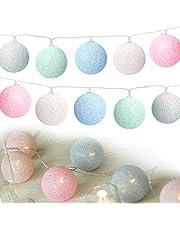 Sporgo Cotton Ball Lights, 3 m, 20 leds, met USB-aansluiting, lichtketting voor binnen, terras, Kerstmis, bruiloft, kinderkamer decoratie (6 cm)