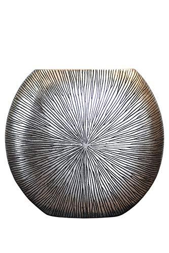 VIVANNO Vase Deko Bodenvase Dekoration Fiberglas ATENA Silber Schwarz 50 x 55 x 18 cm