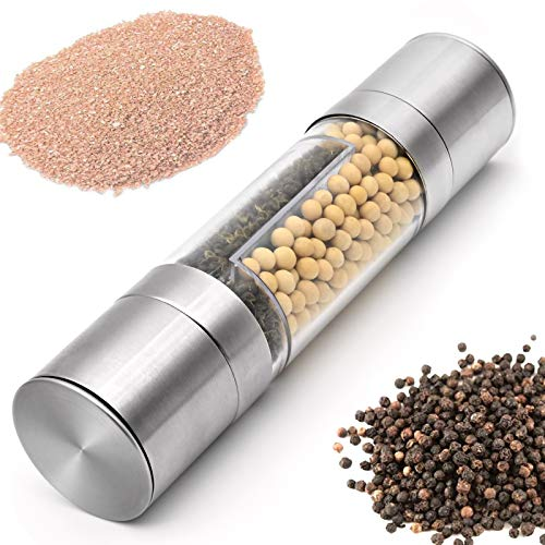 Molinillo de sal y pimienta 2 en 1, de acero inoxidable, manual, molinillo de pimienta, molinillo de pimienta con mecanismo de cerámica ajustable, grano grueso ajustable, salero, pimentero y chile