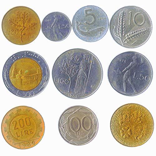 10 gemischte Italien italienische Münzen Lira Lire Repubblica Italiana 1946-2001 Pre-Euro-Münzen. PERFEKTE Wahl FÜR IHRE SPARDOSE, MÜNZE Inhaber UND MÜNZENALBUM