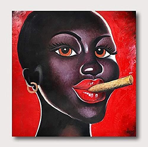 Olieverfschilderij op canvas handgeschilderd, abstract mens-afbeelding schilderij, rode lippen roken Afrikaanse zwarte vrouw, luxe grote vintage moderne wooncultuur voor woonkamer slaapkamer kantoor 100×100 cm