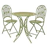 aubaho Gartentisch + 2X Stuhl Eisen Antik-Stil Gartenmöbel Gartengarnitur Mobiliar grün