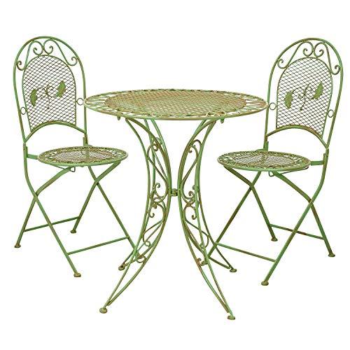 Tavolo da Giardino + 2X Sedia in Ferro mobili da Giardino in Stile Antico Verde