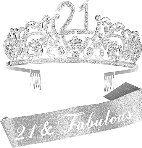 21st Birthday Gifts for Girl, 21st Birthday Tiara and Sash Silver, HAPPY 21st Birthday Party Supplies, Finally 21 Glitter Satin Sash and Crystal Tiara Birthday Crown for 21st Birthday Party Supplies