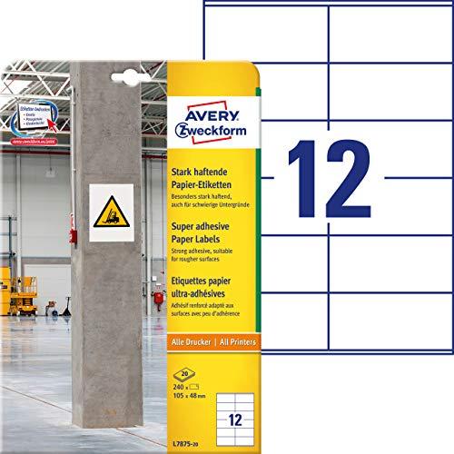AVERY Zweckform L7875-20 Stark haftende Papieretiketten (105 x 48 mm auf DIN A4, extrem stark selbstklebend, bedruckbare Power Papieraufkleber, 240 Aufkleber auf 20 Blatt) weiß