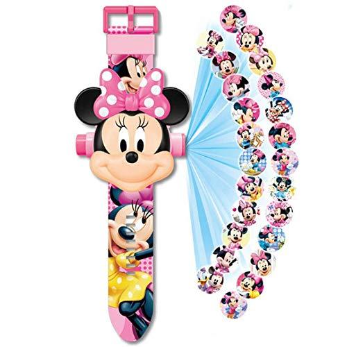 Minnie - Reloj con proyector de Minnie con 20 figuras de Minnie