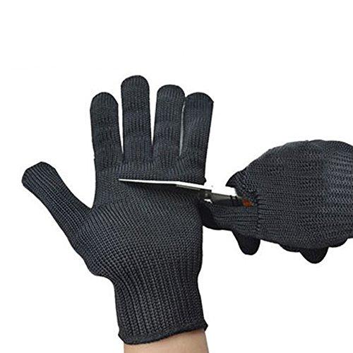 Outdoor Peak Sport avec Support Acier Anti Lame Anti Verre Les Rayures Gants de Protection abriebfest, Noir, L
