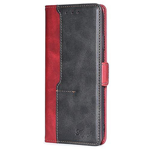 XINNI Cover per Xiaomi Redmi Note 10 4G/Redmi Note 10S Case, retrò Cellulare Custodia Libro Antiurto in Flip Pelle PU/TPU Portafoglio, Rosso