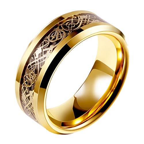 HIJONES Anillo Celtic Silver Dragon Black Carbon Fiber Gold Wedding 8mm De Los Hombres Acero Inoxidable Tamaño 22