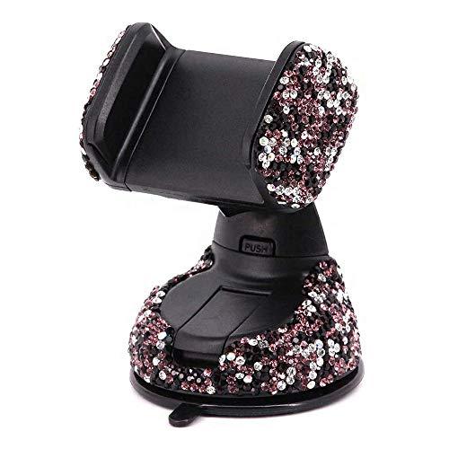 KABIOU Soporte universal para teléfono celular de coche con cristales brillantes de imitación, para coche, para salpicadero, parabrisas y ventilación, color morado