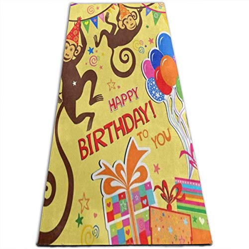 NA Verjaardag Aap Ballon Vlag Yoga Mat-All-Purpose Hoge Dichtheid Antislip Oefening Unieke Yoga Matten voor Alle soorten Yoga, Pilates & Vloer Oefeningen (70