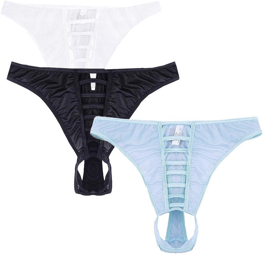Naturemore Regular store Men's Sexy Open Long-awaited Front Underwear Silk G-String Ice She