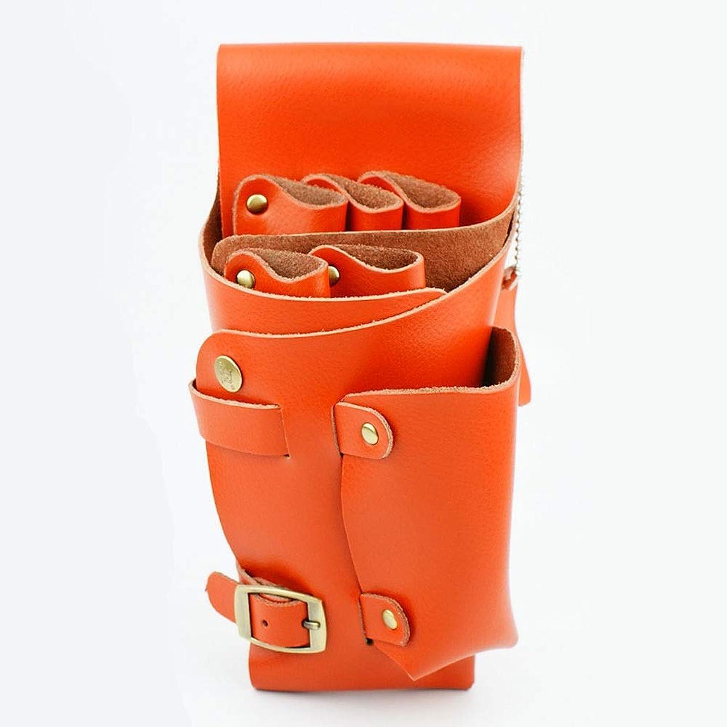 投資移民落ちたYWAWJ ショルダーベルト髪シザーホルスター理髪バッグポーチ付きヘアスタイリストホルスターポーチレザー理容髪シザーくしホルスターウエスト (Color : Orange)