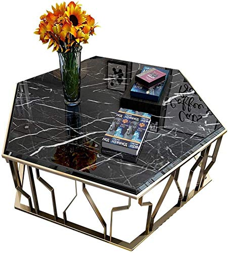 Zijtafel woonkamer Zeshoekige Smeedijzeren Woonkamer Bijzettafel, Zwart Natuurlijke Marmeren Lade, Onregelmatige Metalen Bakplaat