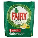 Fairy Original Todo en Uno - 85 pastillas para lavavajillas, detergente en paquete de 85 cápsulas, limón