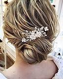 Edary Peine para el pelo de la novia, de la boda, de plata, flor de novia, con diamantes de imitación, accesorios para el cabello para mujeres y niñas