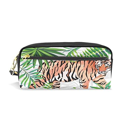 Trousse à crayons, tigre Tropical Feuille Imprimé Voyage Maquillage Pouch Grande capacité étanche Cuir 2 compartiments pour filles garçons femmes Hommes