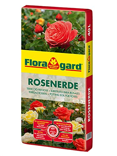 Floragard Rosenerde 40 Liter - torfreduzierte Spezialerde mit Ton für Rosen im Garten und im Kübel