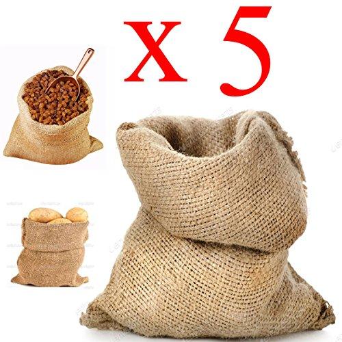 STI Sacco Juta 45x80 Neutro Naturale caffè Cereali Tela yuta Regali 5 Pezzi