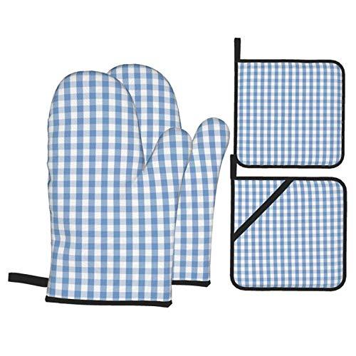 Lionel Philip Set 4 Guanti da Forno e presine, Classici Guanti Antiscivolo a Quadretti Pastello Blu Chiaro e tamponi Caldi per Cucinare